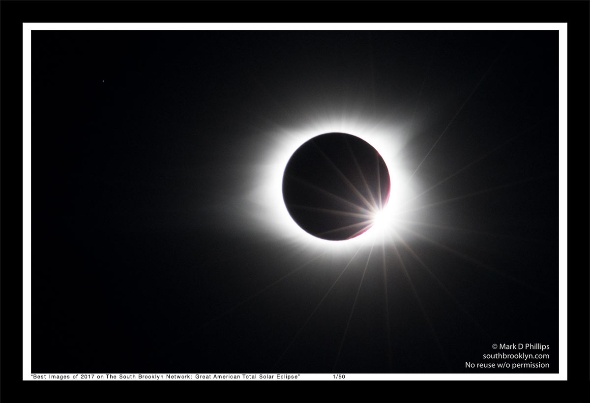 Great American Total Solar Eclipse feautures Jupiter, Bailey's Bead and Diamond Ring on August 21, 2017, from Murphy, NC.