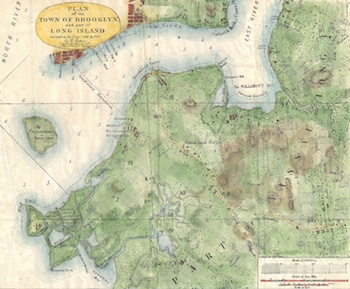 Red Hook Map from 1766 with Fort Defiance n Red Hook, Brooklyn.