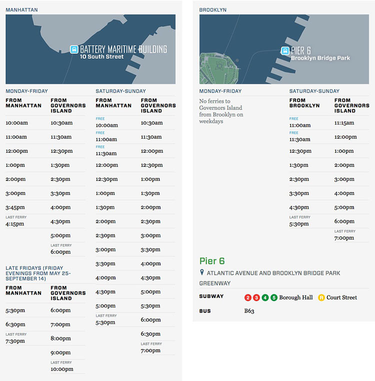 Governors Island Ferry Schedule