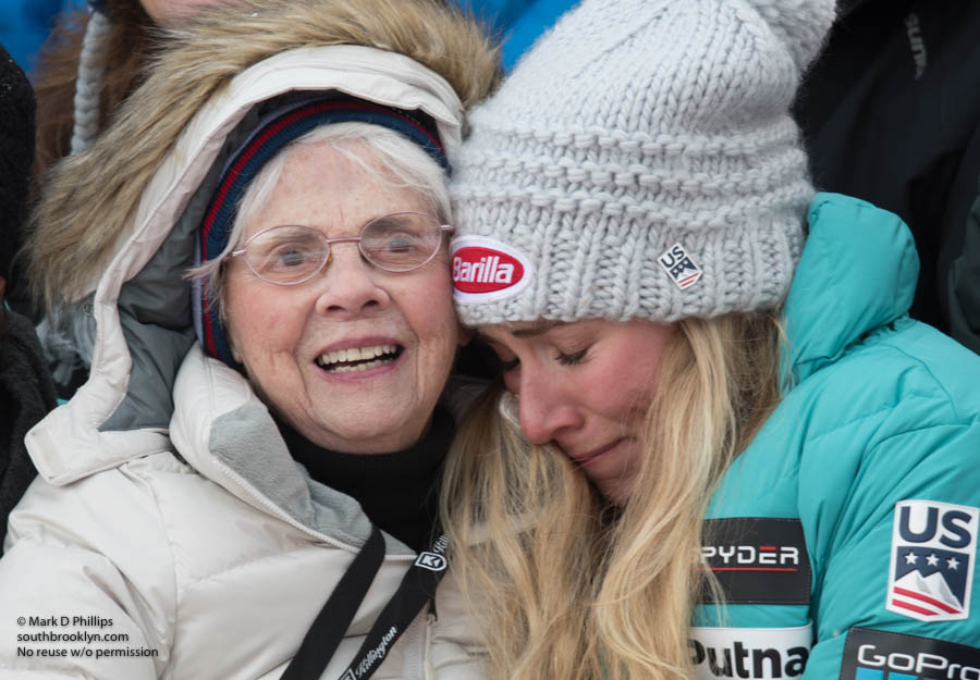 Mikaela Shiffrin cries as she hugs her Nana after winning the slalom at the AUDI FIS Ski World Cup Slalom at Killington. Pauline Condron, the 95-year-old grandmother of the Olympic champion Mikaela Shiffrin, watched the race for the second time at KIlling