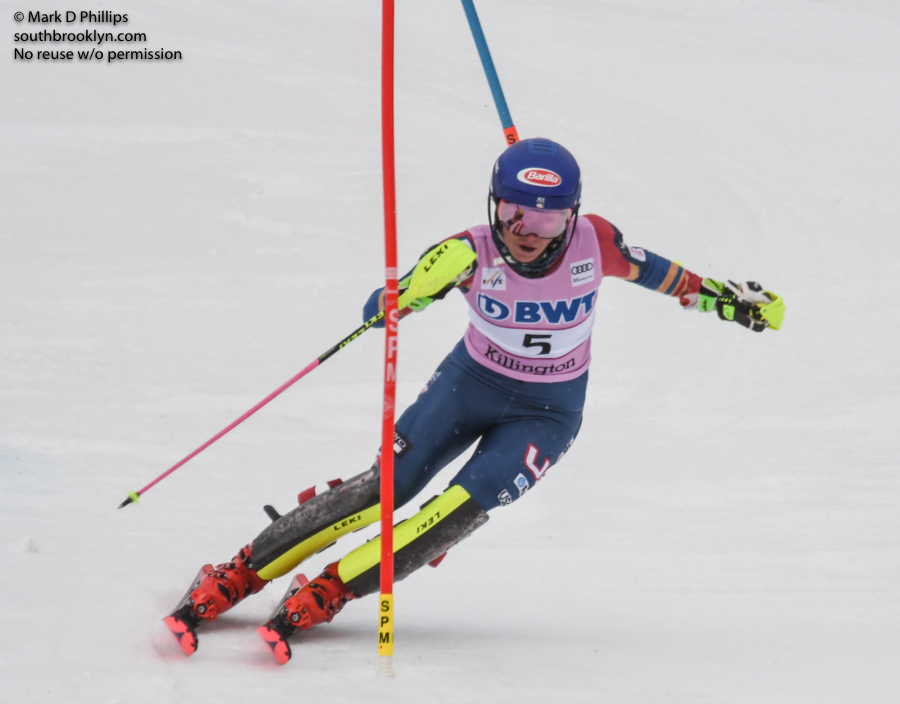 Mikaela Shiffrin hits a gate on her way to a first place finish in the first run of the Slalom at the FIS Ski World Cup at Killington.