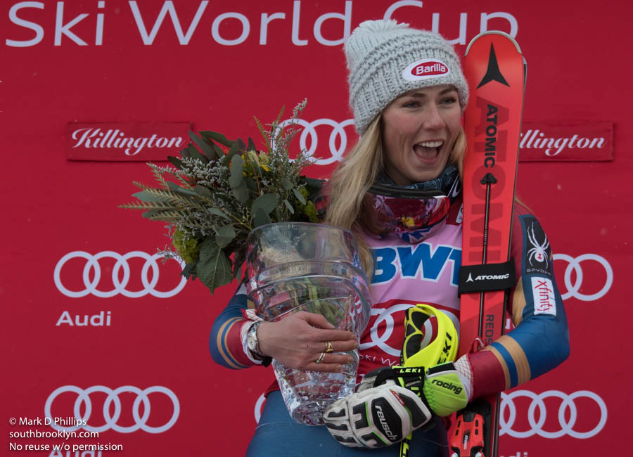 Mikaela Shiffrin with the World Cup trophy after winning the Slalom at the FIS Ski World Cup