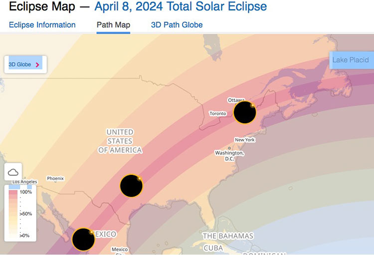 The map shows the visibility of the total solar eclipse on April 8, 2024. You can select any location to see the local type, date, and time of the eclipse.