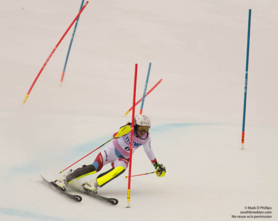 Wendy Holdener of Switzerland hits a gate on her way to a second place finish in the first run of the Slalom at the FIS Ski World Cup at Killington.